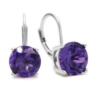 5ct Amethyst Drop Earrings in Solid Sterling Silver.  Very Popular!