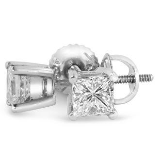 2ct Princess Diamond Stud Earrings In 14k White Gold