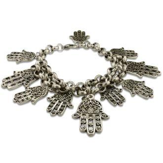 Oversized Hamsa Charm Bracelet in Alloy Metal