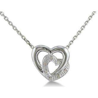 Adorable Diamond Heart Pendant, Sterling Silver