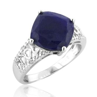 7ct Rough Cut Sapphire and Diamond Ring in Sterling Silver