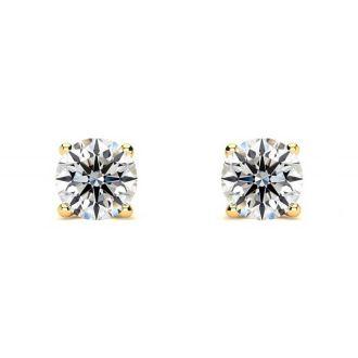 1/3 Carat Round Diamond Stud Earrings In 14 Karat Yellow Gold