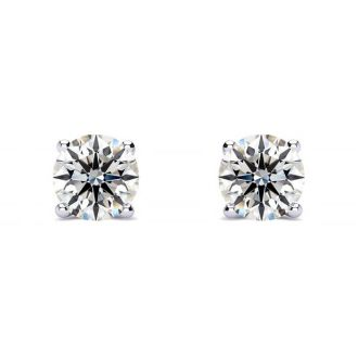 1/2 Carat Round Diamond Stud Earrings In 14 Karat White Gold