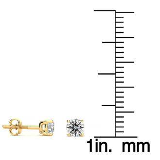 1/2 Carat Round Diamond Stud Earrings In 14 Karat Yellow Gold
