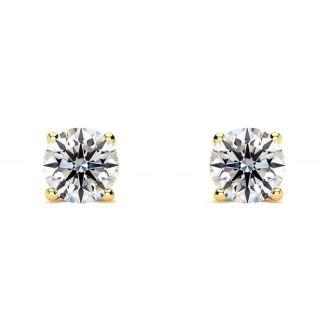 3/4 Carat Round Diamond Stud Earrings In 14 Karat Yellow Gold