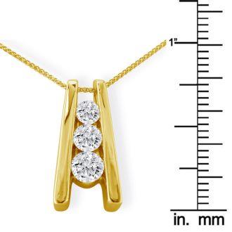 1ct Three Diamond Ladder Pendant in 14k Yellow Gold