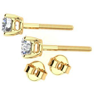 1 1/2 Carat Round Diamond Stud Earrings In 14 Karat Yellow Gold