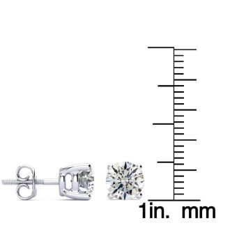 1 3/4 Carat Diamond Stud Earrings In 14 Karat White Gold