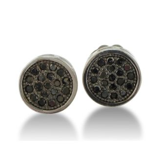 1/4ct Pave Set Black Diamond Earrings in Round Sterling Silver Mounts