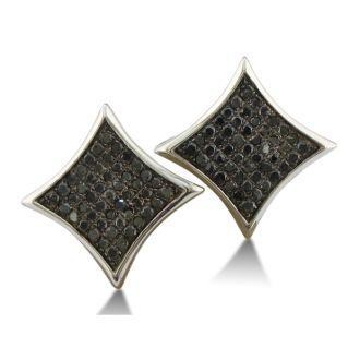 1/2ct Black Diamond Earrings in Sterling Silver