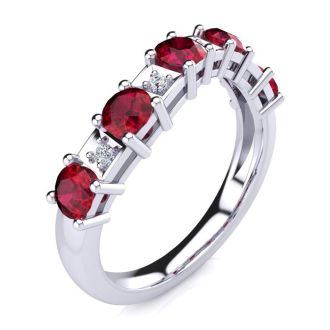 1 1/3 Carat Ruby and Diamond Journey Band Ring in 10K White Gold