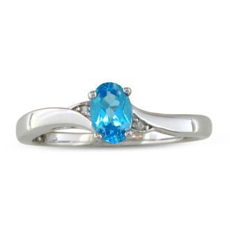 1/2ct Blue Topaz and Diamond Ring in Sterling Silver