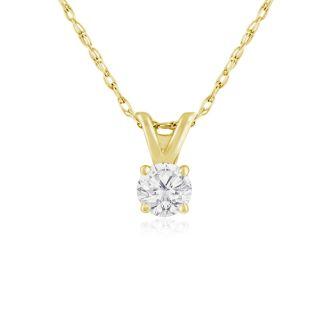 1/5ct 14k Yellow Gold Diamond Pendant, 2 Stars