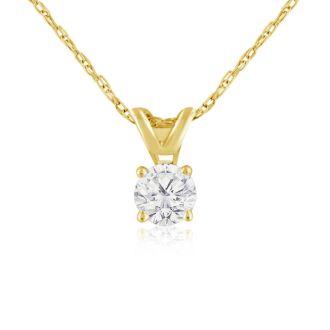 1/4ct 14k Yellow Gold Diamond Pendant, 2 Stars