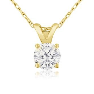 1/3ct 14k Yellow Gold Diamond Pendant, 2 Stars