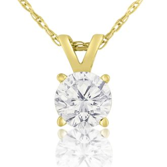 1/2ct 14k Yellow Gold WGL Certified Diamond Pendant