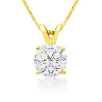 .85ct 14k Yellow Gold Diamond Pendant