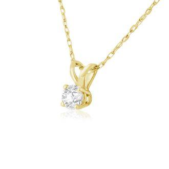 1/6ct 14k Yellow Gold Diamond Pendant, 4 stars