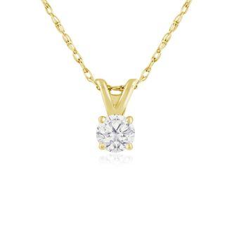 1/5ct 14k Yellow Gold Diamond Pendant, 4 stars