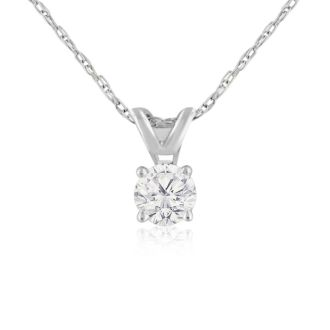 1/4ct 14k White Gold Very Clear, White Diamond Necklace