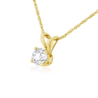 1/4CT 14K Yellow GOLD VERY CLEAR, WHITE DIAMOND NECKLACE