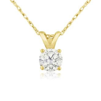 1/3ct 14k Yellow Gold Diamond Pendant, 4 stars