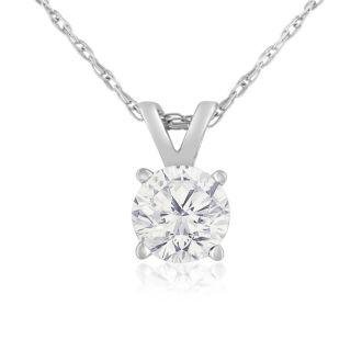3/8ct 14k White Gold Diamond Pendant, 4 stars