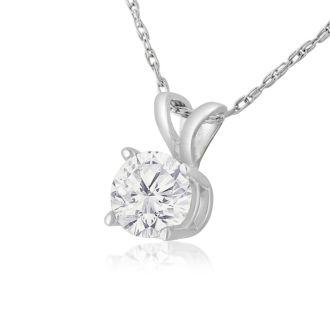 1/2ct 14k White Gold Diamond Pendant, 4 stars