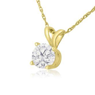 1/2ct 14k Yellow Gold Diamond Pendant, 4 stars