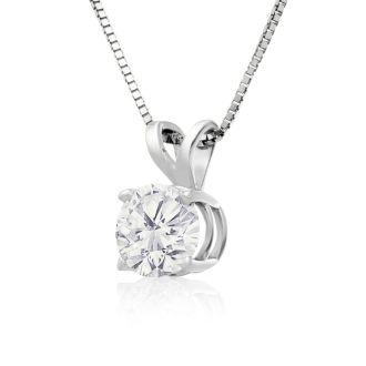3/4ct 14k White Gold Diamond Pendant, 4 stars