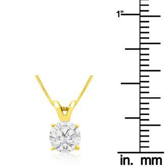 3/4ct 14k Yellow Gold Diamond Pendant, 4 stars