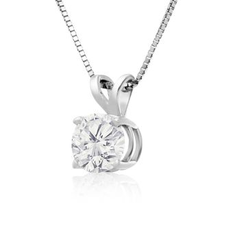90 Point Colorless Solitaire Necklace, Almost 1 Carat in 14K White Gold. First Time Offered Special Purchase