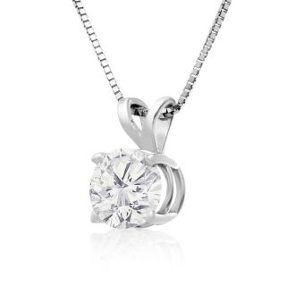 1ct 14k White Gold Diamond Pendant, 4 stars