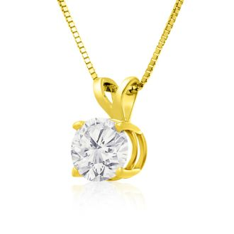 1ct 14k Yellow Gold Diamond Pendant, 4 stars