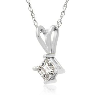 1/4ct 14k White Gold Princess Diamond Pendant, Sale Priced.