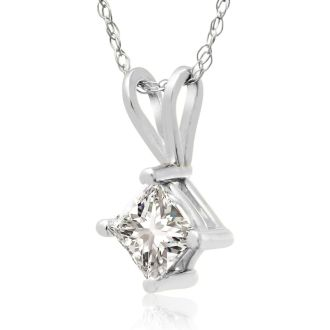 Closeout Price on 1/2ct Princess Diamond Pendant in 14k White Gold.