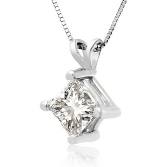 1ct 14k White Gold Princess Diamond Pendant