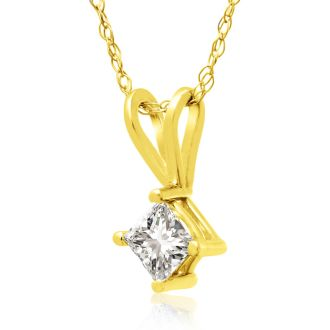 1/4ct 14k Yellow Gold Princess Diamond Pendant