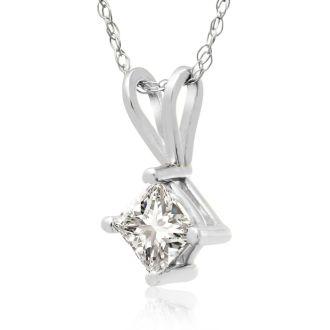 3/8ct 14k White Gold Princess Diamond Pendant
