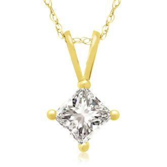 1/2ct 14k Yellow Gold Princess Diamond Pendant