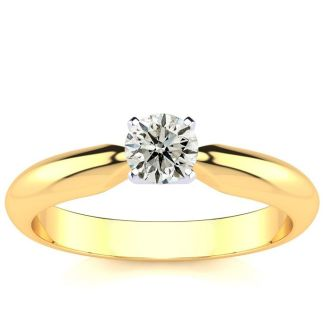 1/4 Carat Round Shape Diamond Solitaire Ring In 14K Yellow Gold