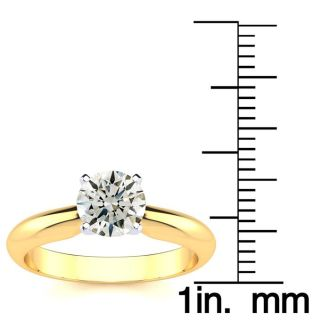 1 Carat Round Shape Diamond Solitaire Ring In 14K Yellow Gold