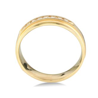 Heavy Mens Wedding Band With 1/4ct Channel Set Diamonds
