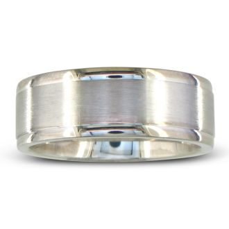 Mens and Womens Brush Finish Silver Wide 8mm Wedding Band Ring