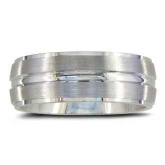 Mens and Womens Five Row Silver Wide 8mm Wedding Band Ring