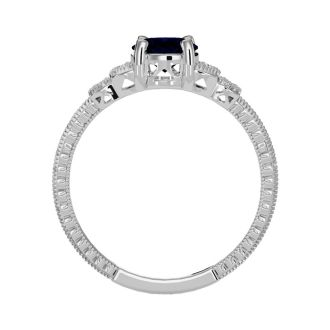 1 3/4 Carat Oval Shape Sapphire and Diamond Ring In 10 Karat White Gold