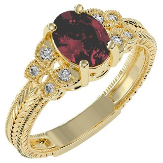 1 1/2 Carat Oval Shape Ruby and Diamond Ring In 10 Karat Yellow Gold