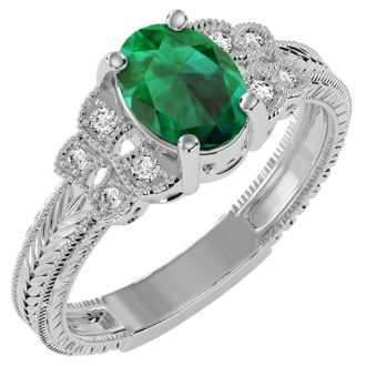 1 1/4 Carat Oval Shape Emerald and Diamond Ring In 10 Karat White Gold
