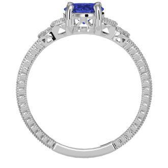 1 1/3 Carat Oval Shape Tanzanite and Diamond Ring In 10 Karat White Gold