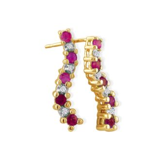 1/2ct Ruby and Diamond Journey Earrings in 10k Yellow Gold
